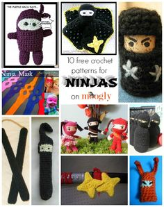 Ninja Patterns - all sneaky crochet and FREE! Collection on Mooglyblog.com