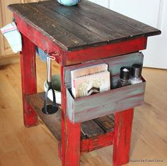 Awesome pallet island from Beyond the Picket Fence - fantastic furniture - Pallet Crafts, Pallet Projects, Home Projects, Wood Crafts, Diy Crafts, Pallet Art, Pallet Ideas, Pallet Island, Pallet Kitchen Island