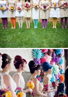 Coloured tights on bridesmaids.