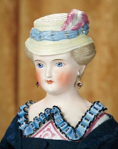 """20""""-Outstanding German Bisque Lady with Rare Sculpted Bonnet, Bodice, and Brown Hair~~~20""""- Bisque shoulder head of adult lady w/elegant demeanor, sculpted light brown hair waved away from her face into formed curls, painted facial features, blue eyes, red & black upper eyeliner, single-stroke brows, accented nostrils, closed mouth outlined lips, pierced ears, elaborate Dresden Collar-Germany, circa 1870"""