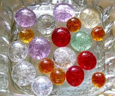 Crackled flat marbles - wonder how these would work on my bowling balls...