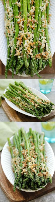 Asparagus with Lemon Parmesan Breadcrumbs - easy roasted asparagus with crunchy breadcrumbs with lemon and Parmesan cheese | rasamalaysia.com