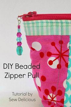Sew Delicious: DIY Beaded Zipper Pull - Tutorial