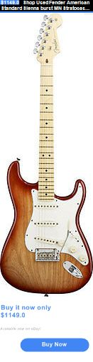 musical instruments: Shop Used Fender American Standard Sienna Burst Mn Stratocaster Electric Guitar BUY IT NOW ONLY: $1149.0