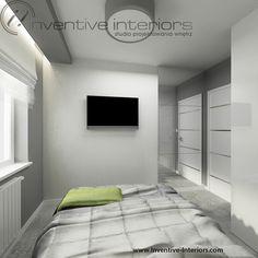 Projekt sypialni Inventive Interiors - Biała tapeta w szarej sypialni