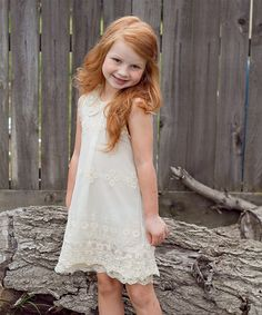 Lovely redhead girl in Ivory Lace Sheath Dress - Toddler & Girls | zulily