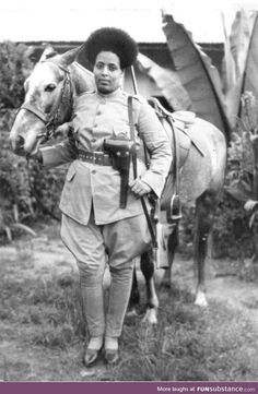 """vintage photos historicaltimes: """" Ethiopian female soldier preparing to fight against Benito Mussolini's fascist Italy in 1935 """" V-j-f you can find si. History Of Ethiopia, Hyung Tae Kim, Ethiopian People, Black History Facts, Female Soldier, Abyssinian, African Diaspora, My Black Is Beautiful, Beautiful Pictures"""