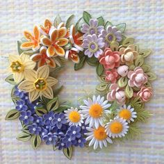 Quilled flower wreath