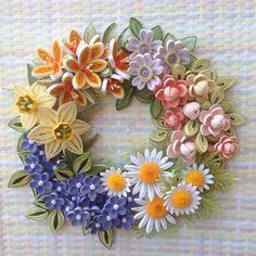 Quilled flower wreath