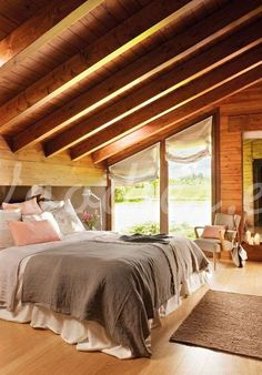 66 bedroom design ideas for your healthy sleep with style - Bedrooms - Bedroom Decor Bedroom Loft, Dream Bedroom, Home Decor Bedroom, Master Bedroom, Cabin Homes, Log Homes, Cabin Interiors, Suites, Beautiful Bedrooms