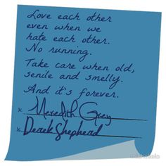 Merder's Post-it Wedding (Grey's Anatomy) by michellelo Grey Quotes, Tv Quotes, Movie Quotes, Greys Anatomy Frases, Grey Anatomy Quotes, Cristina Yang, Derek Shepherd, Meredith E Derek, Wedding Card Quotes