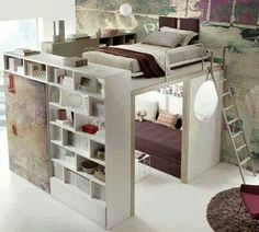 Space saving rooms. I WANT IT!!!!! AHHHH! To have the lounge underneath and a makeup area would be ADORABLE!!