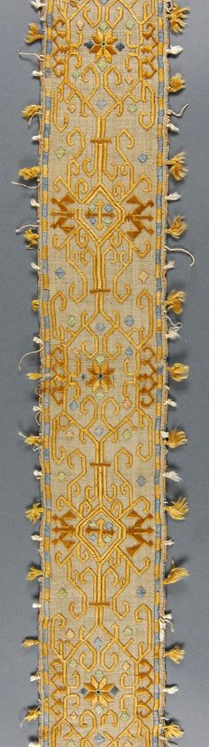 Embroidery Band     Made in Siphnos, Cyclades, Greece  17th century   Silk on linen; satin stitches