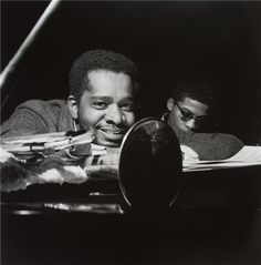 Donald Byrd and Herbie Hancock, New Jersey, 1964 by Francis Wolff | #jazz #people #celebrity