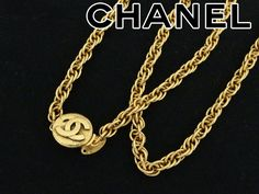 Authentic Chanel CC Logo Vintage Chain Necklace Gold Plated