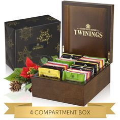 Christmas 4 Compartment Box Filled & Wrapped | Twinings Tea Gifts | Christmas Gifts