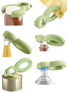 Now this is a MULTI-TASKER. How nice it would be if more kitchen gadgets took the lead from the Six Way Opener and combined multiple functions into one, small unit. I can see this little guy being a perfect gift for someone with arthritis or who is just s Cool Kitchen Gadgets, Kitchen Hacks, Cool Gadgets, Kitchen Tools, Cool Kitchens, Cooking Gadgets, Gadgets And Gizmos, Cooking Tools, Cocina Office