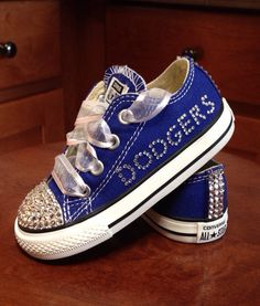 00b00b65fc1 Royal Blue LA Dodgers bling Converse by Munchkenzz on Etsy Dodgers Outfit