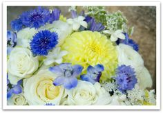 white, blue and yellow summer country wedding flowers. Instead of blue itd be red