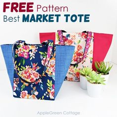 See how to make a tote bag using this free tote bag sewing pattern for a great looking market tote bag in 3 sizes. It can be used either as a storage basket or as a market bag. Easy sewing project, and no corner boxing required, due to a specific square bottom construction. Happy #sewing! #freepattern #bagpattern #totebag Wallet Sewing Pattern, Bag Pattern Free, Tote Pattern, Bag Patterns To Sew, Sewing Patterns Free, Pattern Fabric, Free Sewing, Easy Sewing Projects, Sewing Ideas