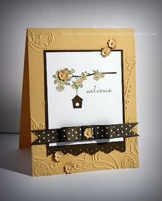STampin' Up...very pretty embossing folder, up in the air, Early Espresso, very nice