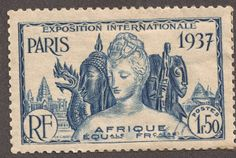 """French Equatorial Africa  1937 1.50fr ultramarine Paris International Exposition Issue Common Design Type: """"Cultural Treasures of the Colonies"""""""