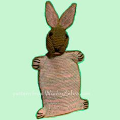 vintage hot water bottle cover -as a bunny! so cosy.knitting pattern WZ339 from WonkyZebra.com