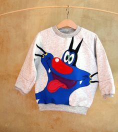 Oggy: gray cotton sweatshirt for Children, Oggy gray fleece 2T, 3T,4T Oggy e i maledetti scarafaggi: funny and ironic sweatshirt for kids, colorful applique Oggy https://www.etsy.com/shop/PABUITA