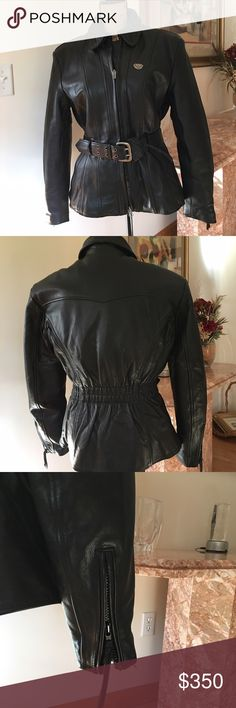 First Gear leather motorcycle coat Black zippered riding jacket with quilted zip out lining and belt. Perfect for cool weather. Worn only twice- just like new. First Gear Jackets & Coats