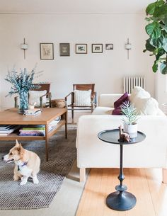 Jess dyed the sofa cover herself. The bottom rug, from IKEA, has been discontinued, as has the Stockholm table. Home Living Room, Living Room Designs, Living Area, Rental Solutions, Picture Arrangements, Chicago Apartment, White Decor, Sofa Covers, Diy Design