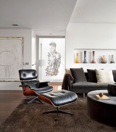 Black Eames Lounge Chair (with White Walls)