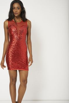 Little Red Sequin Party Dress With Mesh Insert