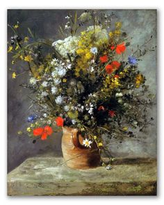 """Cuadro """"Jarrón de Flores"""" de Renoir, flores impresionistas. Naturaleza muerta, bodegón."""