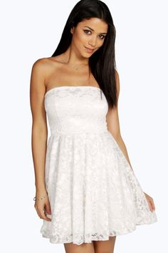 Lulu Lace Bandeau Skater Dress - Dresses - Street Style, Fashion Looks And Outfit Ideas For Spring And Summer 2017 Lace Midi Dress, Skater Dress, Strapless Dress, White Dress, Party Dresses For Women, Summer Dresses, Maxi Dresses, Lace Bandeau, Bodycon Fashion