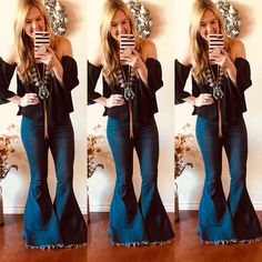 Country Chic Outfits, Chic Summer Outfits, Mom Outfits, Cute Outfits, Cowgirl Outfits, Western Outfits, Cowgirl Fashion, Western Wear, Bell Bottom Pants