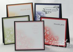 Card Set - sponged with ink and embossed in white.clear embossed and then sponged with ink? Card Making Tips, Card Making Techniques, Making Ideas, Embossed Cards, Card Tutorials, Flower Cards, Creative Cards, Cute Cards, Greeting Cards Handmade