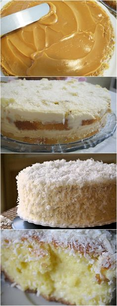 Bolo de Coco com Doce de Leite VEJA AQUI>>>No liquidificador, bata os ovos, a margarina, o leite condensado, 1 xícara de chá de coco ralado (reserve ½ xícara de chá para a cobertura) e a farinha de trigo, até obter uma mistura homogênea. #receita#bolo#torta#doce#sobremesa#aniversario#pudim#mousse#pave#Cheesecake#chocolate#confeitaria