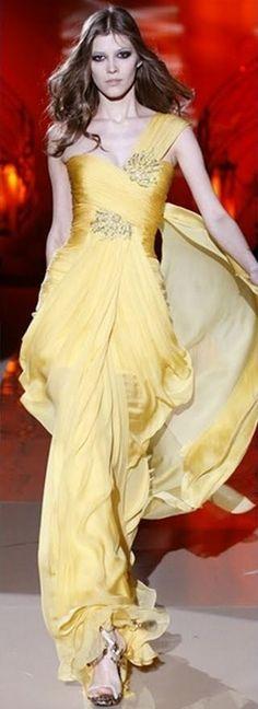 yellow gown runway