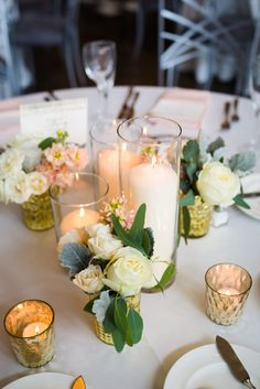 Pillar Candle Centerpiece with Gold floral bud vases Life in BloomSpring 19 East Wedding - Life in Bloom
