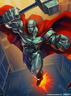 by el-grimlock Love steel, the best character to come out of the Death of superman. Dc Comics Heroes, Arte Dc Comics, Dc Comics Characters, Comic Book Heroes, Comic Books Art, Comic Art, Book Art, Steel Dc Comics, D Mark