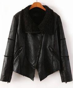 Black Lapel Long Sleeve Leather Jacket - abaday.com