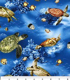 Novelty Cotton Fabric-Turtles