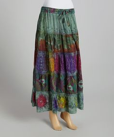 Look what I found on #zulily! Green & Silver Floral Embroidered Midi Skirt #zulilyfinds