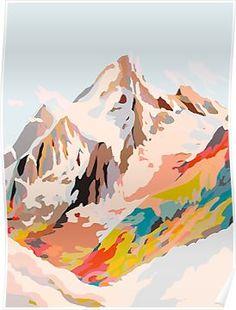 Glass Mountains Mini Art Print by Danse De Lune - Without Stand - x Mountain Designs, Mountain Art, Mountain Landscape, Kunst Poster, Guache, Mountain Paintings, Canvas Prints, Art Prints, Framed Art