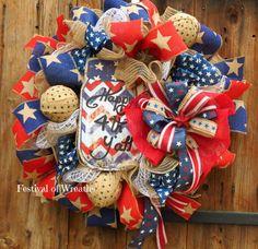 Patriotic Wreath 4th of July Wreath July 4 by FestivalofWreaths