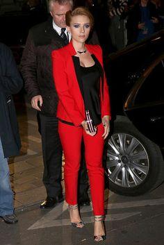 Scarlett Johansson in a lipstick-red Michael Kors suit