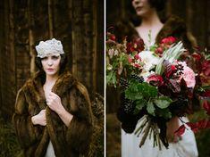 bride in fur coat vintage bridal bouquet Flowers | Lale Floral Designs Photography | Our Love Is Loud Style | Laurel + Rose