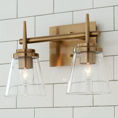 Brass Bathroom Light Fixtures, Bathroom Chandelier, Gold Bathroom, Bath Fixtures, Ikea Bathroom Lighting, Bathroom Lighting Inspiration, Master Bathroom, Vintage Bathroom Lighting, Cool Light Fixtures