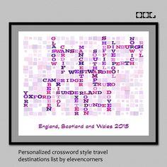 Personalized travel list crossword style print   wall art decor   customized travel print   traveler gift   custom destination list poster by elevencorners on Etsy #elevencorners #etsy #crossword
