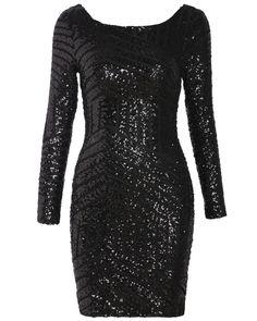 Black Long Sleeve Backless Sequined Dress 25.99 http://www.shareasale.com/r.cfm?B=454919&U=677178&M=39236&urllink=